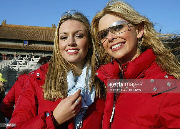 Miss World contestants Rosanna Davison of Ireland and Diana Sayers of Northern Ireland pose during a visit to the Forbidden City in Beijing 20...