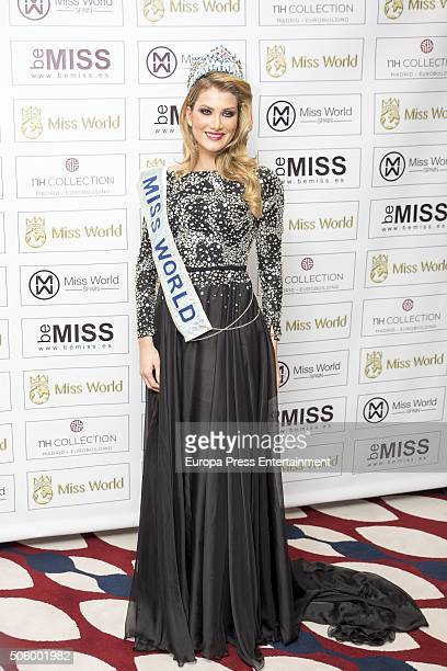 Miss World Mireia Lalaguna poses for a photo session on January 20 2016 in Madrid Spain