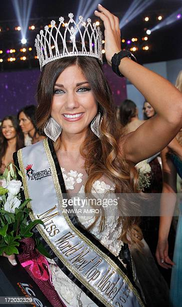 Miss World Next Top Model 2013 Argentinian winner Micaela López Bianchi shows off her crown at the Casino Du Liban north of the capital Beirut on...