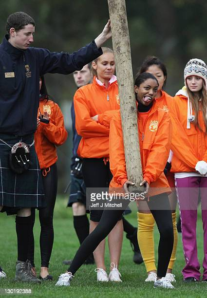 Miss World participants take part in the Miss World Highland Games at Crieff Hotel on October 24 2011 in Crieff Scotland One hundred and twenty two...