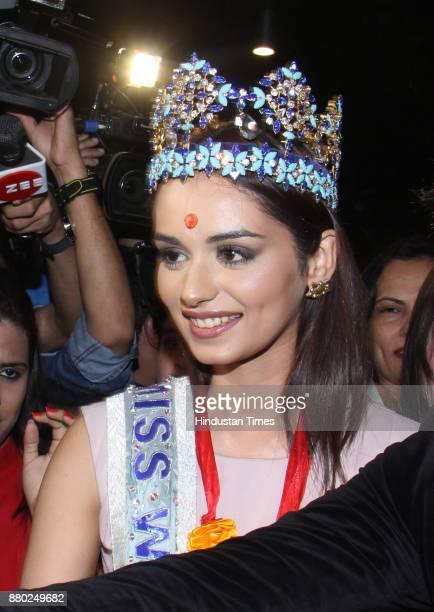 Miss World winner Manushi Chhillar arrives at Chhatrapati Shivaji International Airport on November 26 2017 in Mumbai India Manushi who hails from...