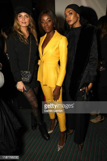 Misse Beqiri AJ Odudu and Ikram Omar attend a cocktail party to celebrate the Steve Madden boutique store opening on November 14 2019 in London...