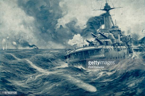 """Missed! U Boat's Torpedo Passes Beyond the Stern of British War Vessel', 1916. From """"The War Illustrated Album De Luxe - Volume VI. The Spring and..."""