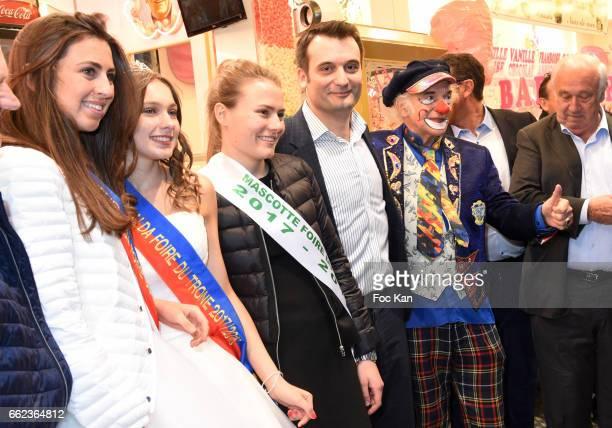 Misses Foire du Trone Front National Party deputy Florian Philippot a clown and Marcel Campion attend Foire du Trone Auction Launch Party to benefit...