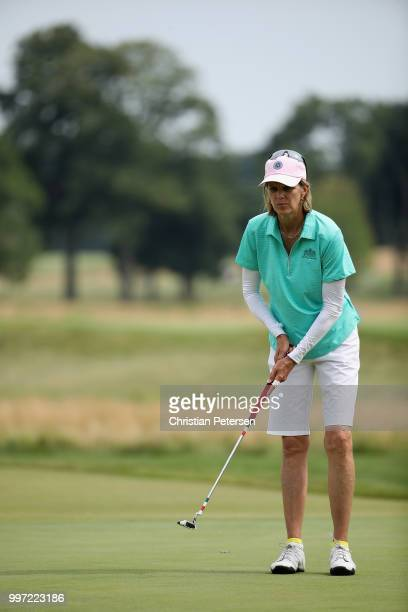 Missie Berteotti prepares to putt on the 18th green during the first round of the US Senior Women's Open at Chicago Golf Club on July 12 2018 in...