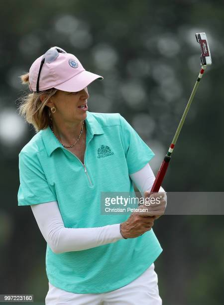 Missie Berteotti reacts to her putt on the 18th green during the first round of the US Senior Women's Open at Chicago Golf Club on July 12 2018 in...