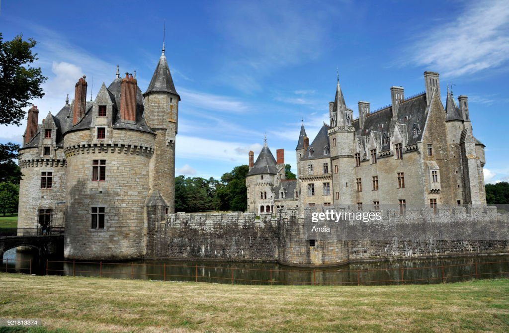 Missilac (north-western France). Chateau de La Bretesche, medieval castle built in the XIVth century, rebuilt in the XIXth century, listed as a National Historic Landmark (French 'Monument historique').