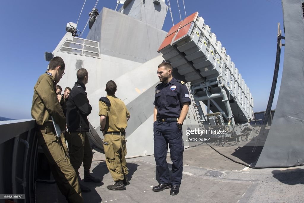 Missile boxes 'Gabriel' are seen onboard the Israeli vessel Saar 5 Class Corvette 'INS Hanit' during the 'Novel Dina 17' training session in the Mediterranean Sea on April 4, 2017. /
