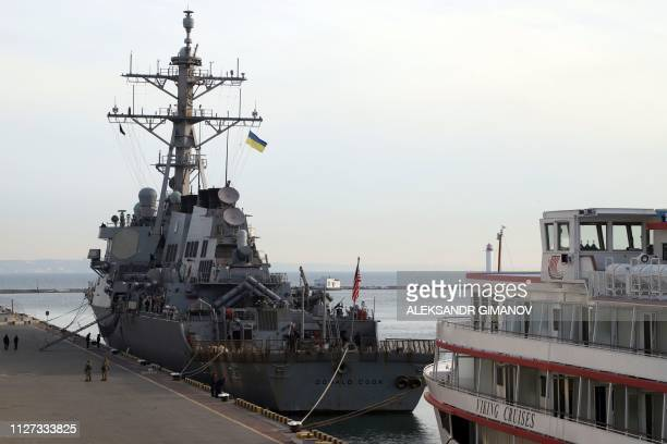 Missile destroyer USS Donald Cook is docked in Ukrainian Black Sea port of Odessa, after it was moored early morning on February 25, 2019 to take...