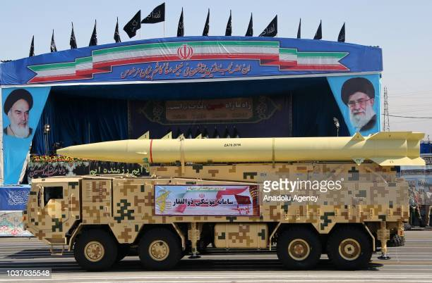 Missile launching platform is seen during the military parade held to mark Sacred Defence Week in front of the Holy Shrine of Imam Khomeini in Tehran...