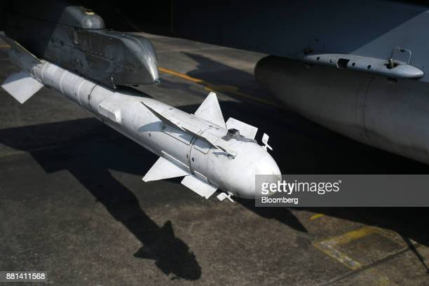 A missile of an Indian Air Force Tejas fighter jet developed by Hindustan Aeronautics Ltd is seen at the Kalaikunda Air Force Station West Bengal...