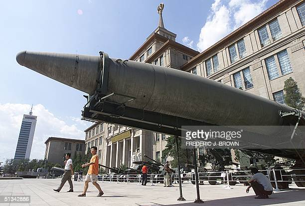 A missile sits on display in the courtyard of the Military Museum in Beijing 05 September 2001 The United States voiced concern 04 September about...