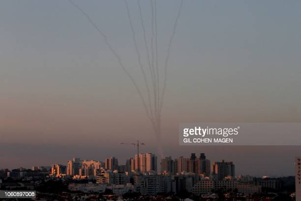 Missiles from Israel's Iron Dome air defence system in the south of Israel destroy incoming missiles fired at Israel from the Palestinian enclave of...