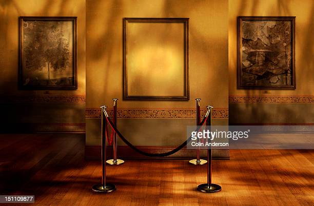 missing artwork in a gallery - roped off stock photos and pictures