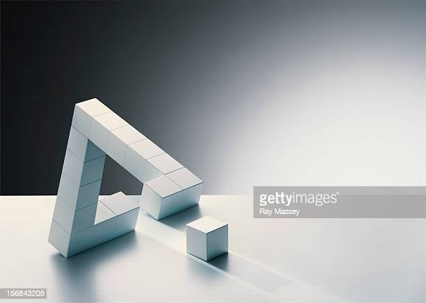 missing cube in triangle formation - incomplete stock pictures, royalty-free photos & images