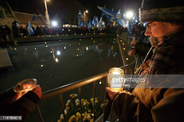Missing EU Already hold candlelight vigil outside the Scottish Parliament at Holyrood as the UK leaves the EU on January 31, 2020 in Edinburgh,...