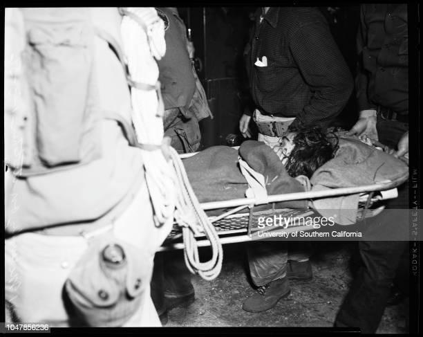 Missing girl found 3 January 1956 Mrs Ida McCaughey Gail McCaughey 12 years Caption slip reads 'Photographer Olmo Date Reporter Cowles Assignment...