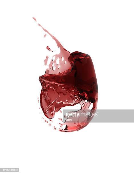 missing glass of wine - 3d render - bordeaux stockfoto's en -beelden