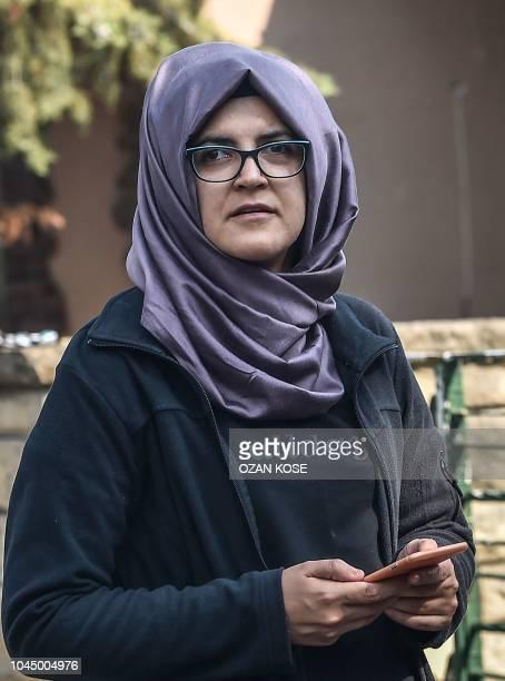 Missing journalist Jamal Khashoggi's Turkish fiancee Hatice waits in front of the Saudi Arabian consulate in Istanbul on October 3 2018 Jamal...