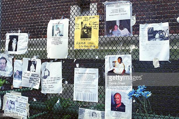 Missing person board outside of Armory for victims of World Trade Center attack.