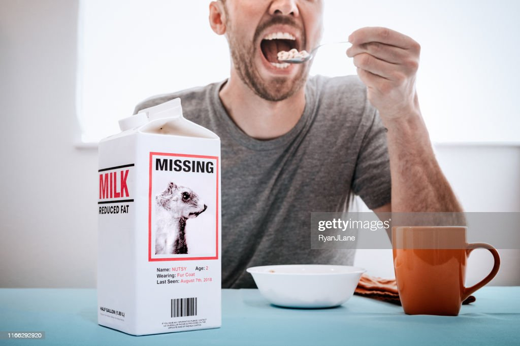 Missing Person Milk Carton With Squirrel While Man Eats Breakfast : Stock Photo