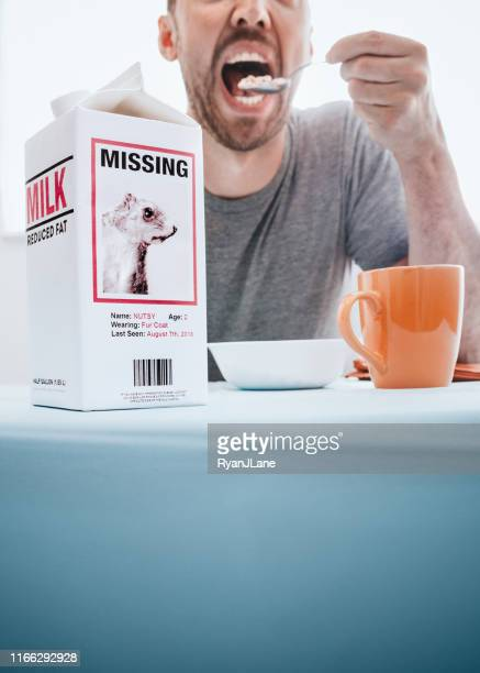 missing person milk carton with squirrel while man eats breakfast - milk carton stock photos and pictures