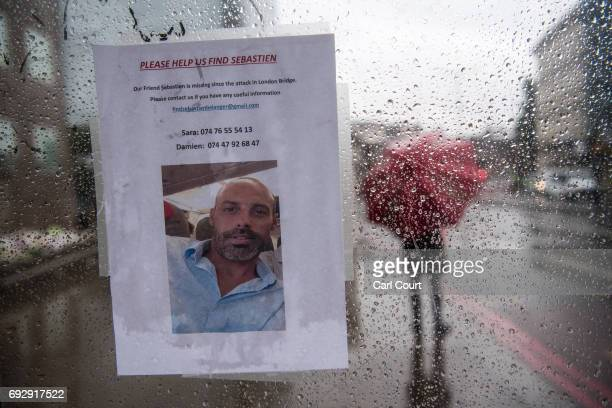 A missing person notice is placed in a bus stop on London Bridge following Saturday's terrorist attack on June 6 2017 in London England The third...