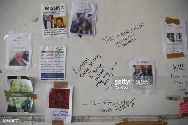 Missing person posters and messages upon on a wall near Grenfell Tower on June 16 2017 in London England 30 people have been confirmed dead and...