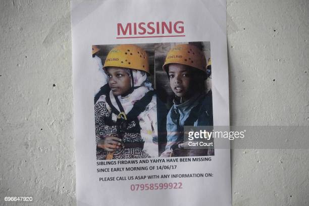 Missing person posters upon on a wall near Grenfell Tower on June 16 2017 in London England 30 people have been confirmed dead and dozens still...