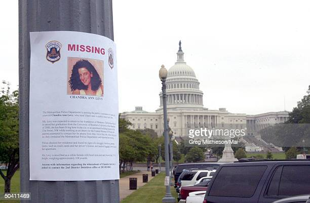 Missing person sign re Washington intern Chandra Levy posted near the Capitol.