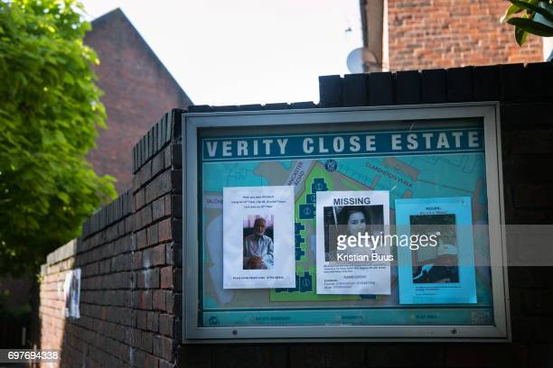 Missing posters for loved ones lost in the fire on a wall in a nearby estate Grenfell Tower burned out after a catastophic fire killing more than 58...