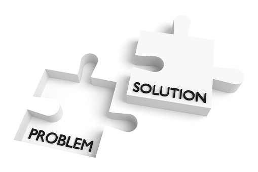 Missing puzzle piece, problem and solution, white 531861190