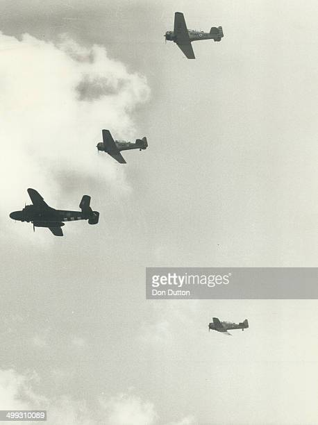MissingMan Formation a familiar sight over wartime airfields is flown by members of Canadian Warplane Heritage at Saturday's air show as a way of...
