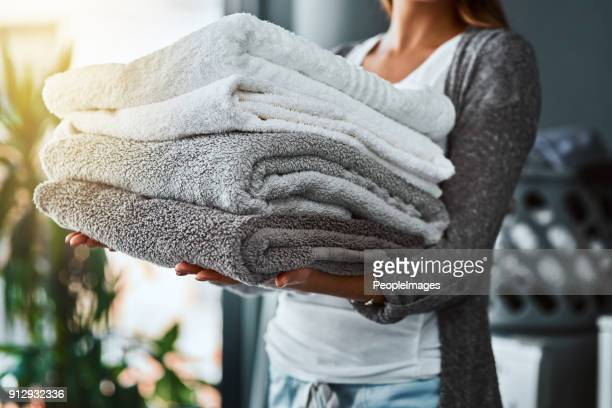 mission accomplished, fresh and clean towels - laundry stock pictures, royalty-free photos & images