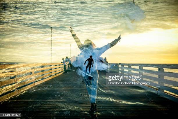 mission beach double exposure - multiple exposure sport stock pictures, royalty-free photos & images