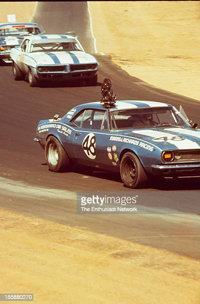 Mission Bell 250 Race Riverside TransAm Dick Hoffman drives the Marks Richards Racing 1967 Chevrolet Camaro Z/28 camera car followed by Jerry Titus...