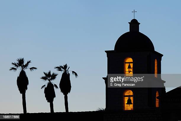 mission clock tower - mission santa barbara stock pictures, royalty-free photos & images