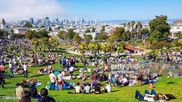 mission dolores park on 4th of july - castro district stock pictures, royalty-free photos & images