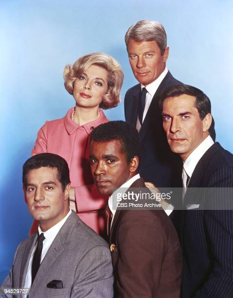 Impossible cast members clockwise from top left Barbara Bain as Cinnamon Carter Peter Graves as James Phelps and Martin Landau as Rollin Hand Greg...