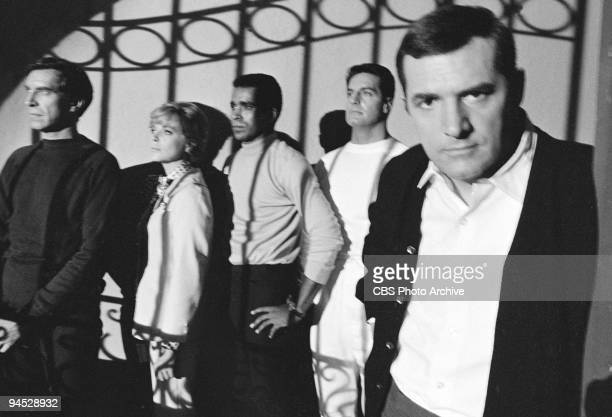 Impossible gallery session photo featuring from left Martin Landau as Rollin Hand Barbara Bain as Cinnamon Carter Greg Morris as Barney Collier Peter...
