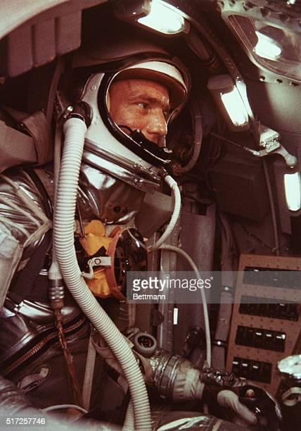 Mission Practice Project Mercury Astronaut Malcolm Scott Carpenter goes through orbital flight simulation in Procedures Trainer Cape Canaveral