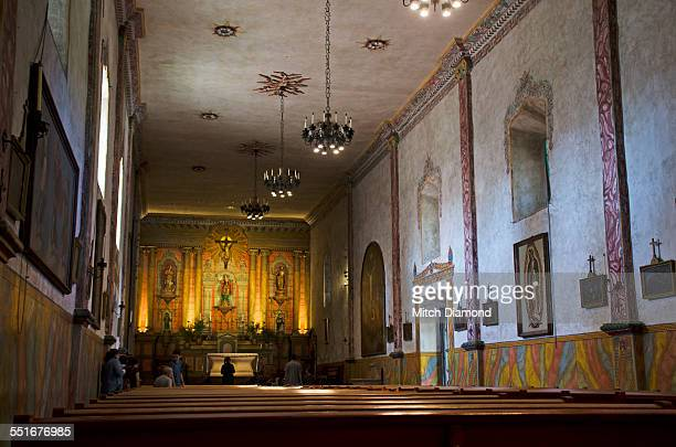 mission santa barbara interior - mission santa barbara stock pictures, royalty-free photos & images