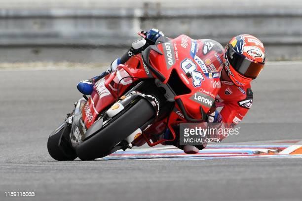 Mission Winnow Ducati's Italian rider Andrea Dovizioso competes during the second practice session of the Moto GP Grand Prix of the Czech Republic in...