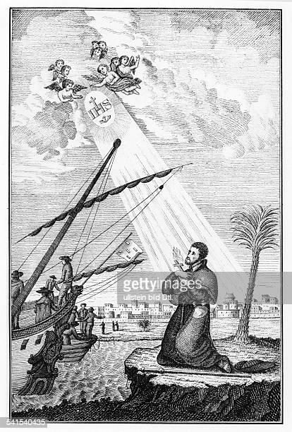 Missionaries Engravings Xavier Francisco 15061552 Missionary Jesuit Saint 'Apostle of Asia' Spain Javier landing in Goa / India 19th century...