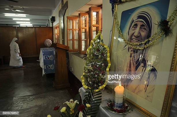 Missionaries of Charity celebrate the 106th birthday of Mother Teresa at the Indian Missionaries of Charity house in Kolkata on August 26,...