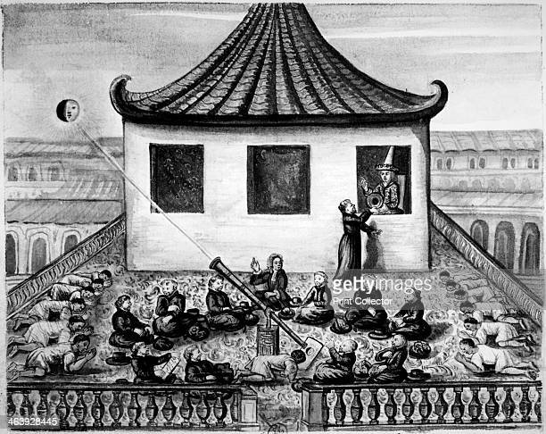Missionaries showing the King of Siam a solar eclipse The missionaries are projecting an image of the eclipse through a telescope onto a white...