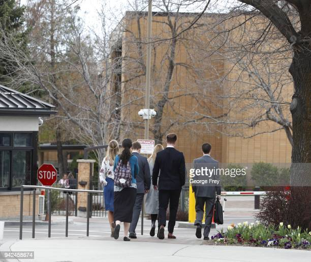 Missionaries walk into the Missionary Training Center of the Church of Jesus Christ of LatterDay Saints is shown on April 5 2018 in Provo Utah...