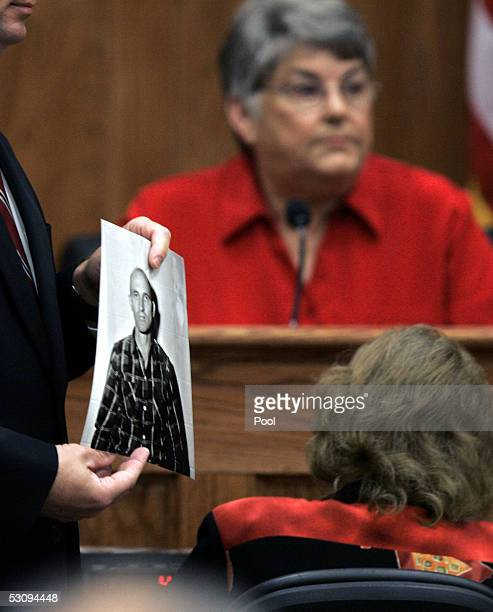 Mississippi Attorney General Jim Hood presents into evidence a 1960s' photograph of Edgar Ray Killen following testimony by Nell Miller wife of the...