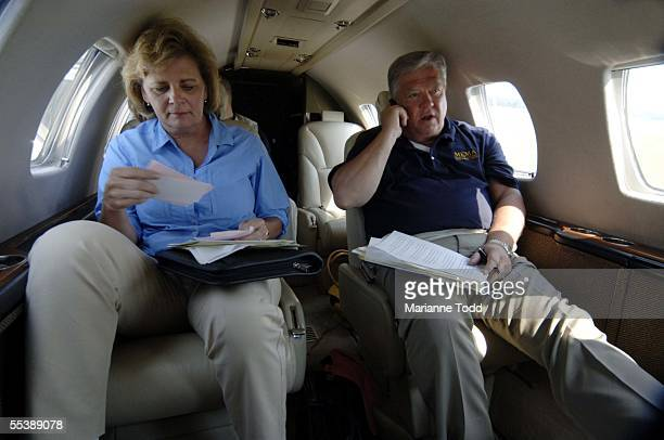 Mississippi Governor Haley Barbour and his wife Marsha Barbour prepare to meet with the US President George W Bush in Gulfport on September 12 2005...