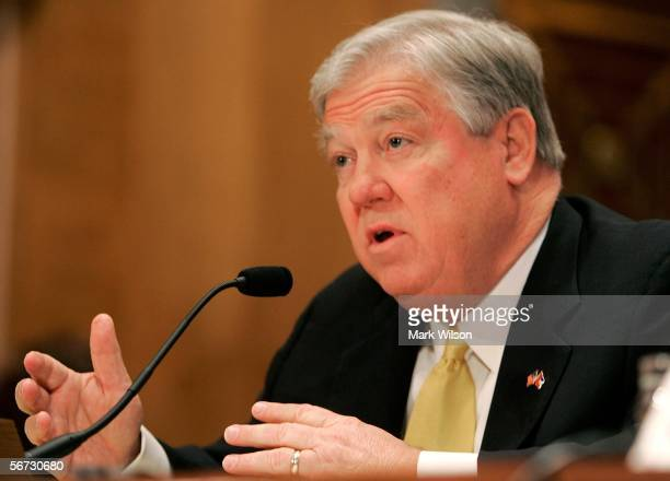 Mississippi Governor Haley Barbour gestures as he testifies during a Senate Homeland Security and Governmental Affairs Committee hearing on Capitol...
